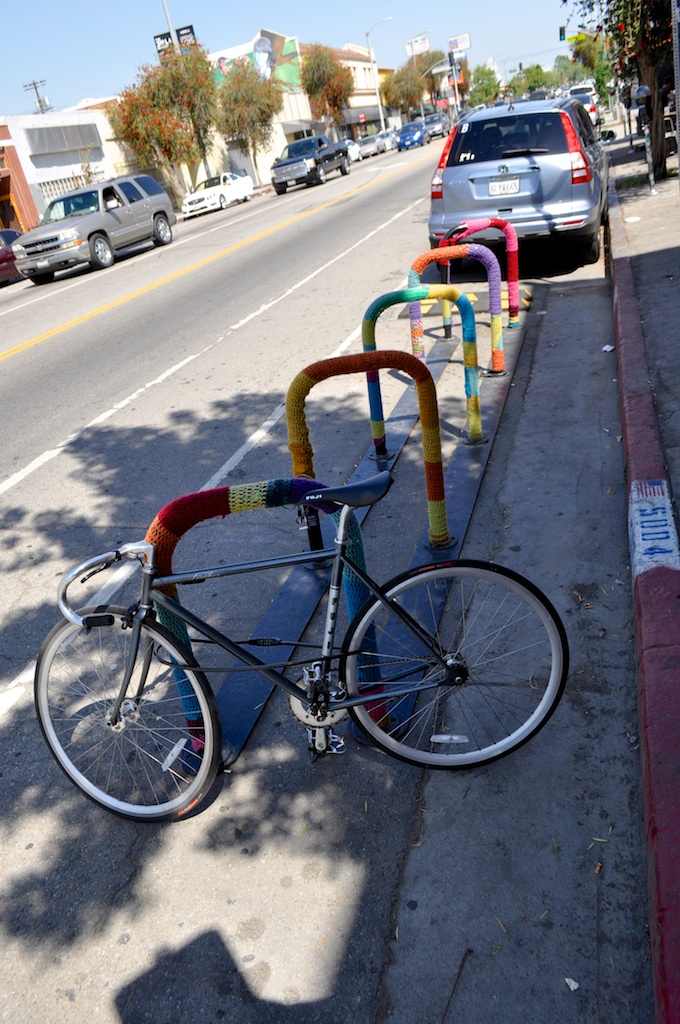 Bike parking spaces, with cozies